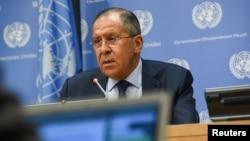 ລັດຖະມົນຕີການຕ່າງປະເທດຣັດເຊຍ ທ່ານ Sergei Lavrov ທີ່ກອງປະຊຸມສະມັດຊາໃຫຍ່ສະຫະປະຊາຊາດ. (ວັນທີ 22 ກັນຍາ 2017)