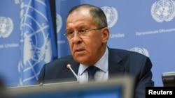Menlu Rusia Sergey Lavrov memberikan sambutan pada sebuah konferensi pers di Majelis Umum PBB ke-72 di markas PBB, New York. (Foto: dok).
