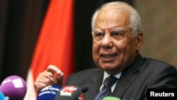 FILE - Egypt's Prime Minister Hazem el-Beblawi gestures during a news conference in Abu Dhabi, Oct. 27, 2013.