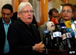 FILE - The United Nations Special Envoy to Yemen Martin Griffiths speaks to the press upon his arrival at Sanaa international airport in Yemen, March 24, 2018.