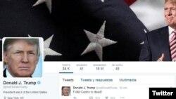 Halaman Twitter Donald Trump.