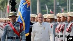 12일 필리핀의 베니그노 아키노 대통령이 독립기념일 행사에 참석한 모습.