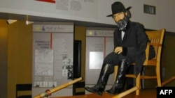 A replica of John Wesley Powell in the Emma Dean boat at the John Wesley Powell River History Museum in Green River, Utah