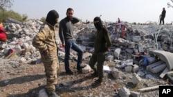 Разрушенные дома в провинции Идлиб