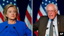 FILE - Leading Democratic presidential candidates Hillary Clinton, left, and Bernie Sanders.