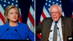 Leading Democratic presidential candidates Hillary Clinton, left, and Bernie Sanders.