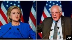 Demokrat Parti'nin başkan aday adaylarından Hillary Clinton'a destek düşerken, bağımsız sosyalist aday Bernie Sanders'a (sağda) verilen destek yükselişte