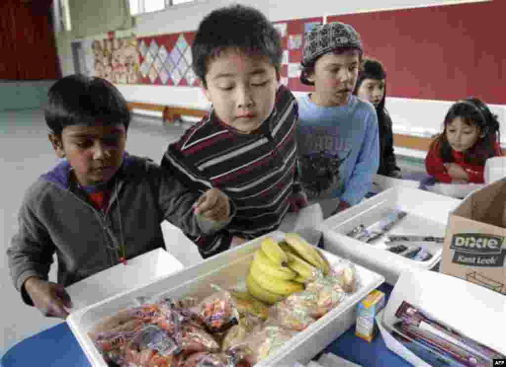 Fairmeadow Elementary School second grade student Jonathan Cheng, center, looks at fruits and vegetables during a school lunch program in Palo Alto, Calif., Thursday, Dec. 2, 2010. More children would eat lunches and dinners at school under legislation pa