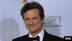 """Colin Firth tras recibir el Globo de Oro por su papel en """"The King's Speech"""", fue nominado ahora al Oscar como mejor actor."""