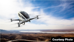 Dubai is planning to launch an air taxi service in 2017. It will use self-flying drones built by China's EHang Inc. The battery-powered egg-shaped EHang 184 aircraft is designed to transport one passenger on short to medium range trips. (EHang Inc.)