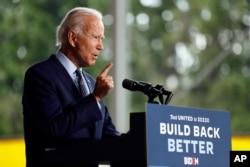 Democratic presidential candidate former Vice President Joe Biden speaks at McGregor Industries in Dunmore, Pa., July 9, 2020.