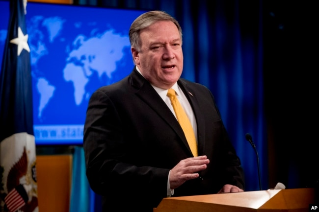 FILE - Secretary of State Mike Pompeo speaks at a news conference at the State Department in Washington, Feb. 1, 2019.