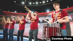 The University of Southern California marching band performs at the 2017 League of Legends College Championships (Courtesy of Riot Games)