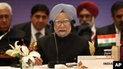 Indian Prime Minister Manmohan Singh speaks at the plenary session of Association of Southeast Asian Nations (ASEAN) India commemorative summit, in New Delhi, India, Dec. 20, 2012.