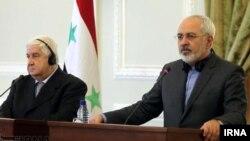 왈리드 오알렘 외무장관(왼쪽)과 무함마드 자바드 자리프 이란 외무장관이 8일 공동 기자회견에서 이스라엘 정부와 반군을 모두 비난했다.