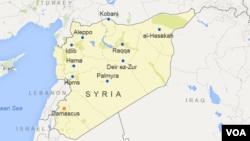 Bản đồ khu vực Syria, nơi em trai Alaa Saadeh định đến để chiến đấu cùng nhóm khủng bố Nhà nước Hồi giáo.