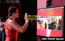 US wrestler Adeline Maria Gray speaks to supporters after competing in a women's freestyle wrestling 76kg semifinal during the Tokyo 2020 Olympic Summer Games, Aug 1, 2021.