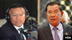 Kem Sokha, vice president of the opposition Cambodia National Rescue Party and first vice president of Cambodia's National Assembly (left) and Hun Sen, Cambodian Prime Minister (right).