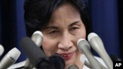 Bộ trưởng Tư pháp Nhật Bản Midori Matsushima loan báo từ chức tại Tokyo, ngày 20/10/2014.