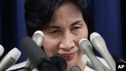 20일 일본 도쿄에서 마쓰시마 미도리 법무상이 사임을 발표하고 있다.
