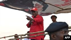 Le président Ernest Bai Koroma lors d'un rassemblement à Kambia, le 3 mars 2018.