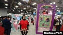 Booth 'Hello Dangdut' di Pavilion Indonesia pada pameran dagang SXSW (South by Southwest) di Austin, Texas, Amerika. Delegasi Indonesia memamerkan produk unggulan inovasi dan kreatif mereka pada 10-13 Maret 2019.