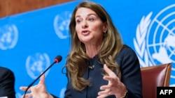 梅琳达•盖茨在世界卫生大会期间在日内瓦举行记者会(2014年5月20日)