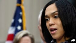 Marilyn Mosby, Baltimore state's attorney, speaks during a media availability in Baltimore, Maryland, May 1, 2015.