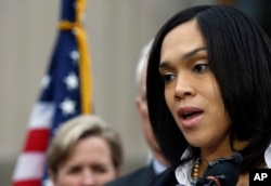 FILE - Marilyn Mosby, Baltimore state's attorney, speaks during a media availability, May 1, 2015 in Baltimore, Maryland.