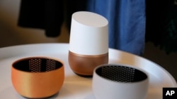 A Google Home unit is displayed in San Francisco, Oct. 4, 2016.