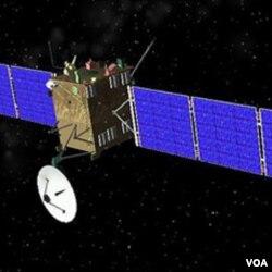 Gambar animasi komputer pesawat antariksa Rosetta.