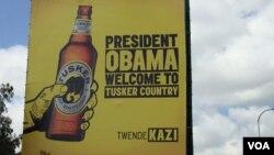 Tangazo la biashara likimkartibisha Rais Obama nchini Kenya.