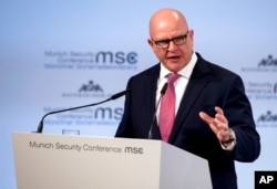 FILE - H.R. McMaster, U.S. National Security Adviser, speaks at the Security Conference in Munich, Germany, Feb. 17, 2018.