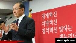 황우여 한국 새누리당 대표가 14일 오전 서울 여의도 당사에서 신년 기자회견을 하고 있다.