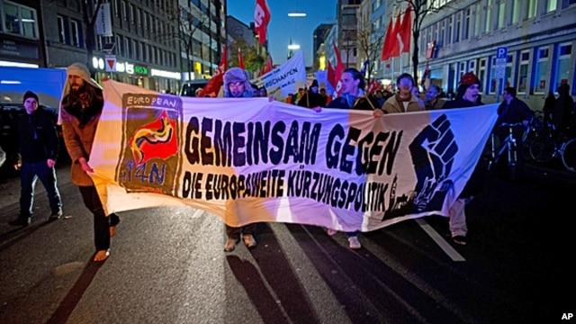 FILE - Blockupy demonstration in Duesseldorf, Germany, Nov 14, 2012.