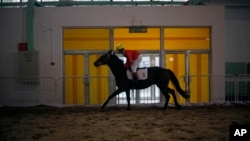 FILE - A Chinese jockey rides a horse at an equestrian and horse industry show in Beijing.