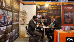 A Cambodian Film Commission team meet at The Hong Kong International Film and TV Market, Hong Kong, March 14, 2017. (Nov Povleakhena/VOA Khmer)