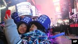 Встреча Нового года на Таймс сквер. Нью-Йорк. 1 января 2014 г.