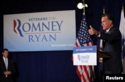 罗姆尼周四在维吉尼亚郊区美国退伍军人协会发表竞选演说