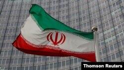 오스트리아 빈 소재 국제원자력기구(IAEA) 본부 앞에 게양된 이란 국기.