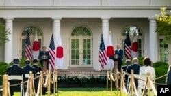 美國總統拜登與日本首相菅義偉在白宮聯合記者會(2021年4月16日)