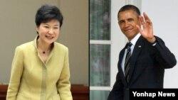 오는 7일 백악관에서 정상회담을 갖는 박근혜 한국 대통령(왼쪽)과 바락 오바마 미국 대통령.