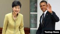 박근혜 한국 대통령(왼쪽)과 바락 오바마 미국 대통령이 7일 백악관에서 첫 정상회담을 갖는다.