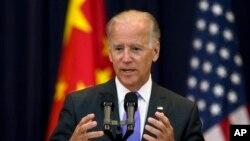 조 바이든 미국 부통령이 지난 7월 워싱턴에서 열린 미-중 전략경제대화에서 연설하고 있다. (자료사진)