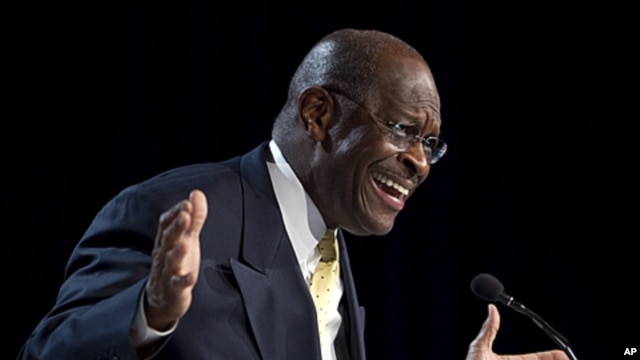 Republican presidential hopeful Herman Cain gestures during a speech at the Values Voter Summit in Washington, October 7, 2011.