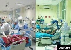 ေျမာက္ဥကၠလာအေထြေထြေရာဂါကုေဆး႐ုံႀကီး၊ အထူးၾကပ္မတ္ကုသေဆာင္တြင္ လူနာမ်ားကို ေစာင့္ေရွာက္ကုသေပးေနတဲ့ ျမင္ကြင္း။ (ဓာတ္ပုံ - MHSM - ႏိုဝင္ဘာ ၂၅၊ ၂၀၂၀)