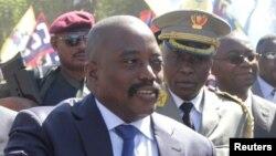 Le Président de la République Démocratique du Congo, Joseph Kabila, lors d'une visite dans la région minière du Katanga, le 13 juin 2016.