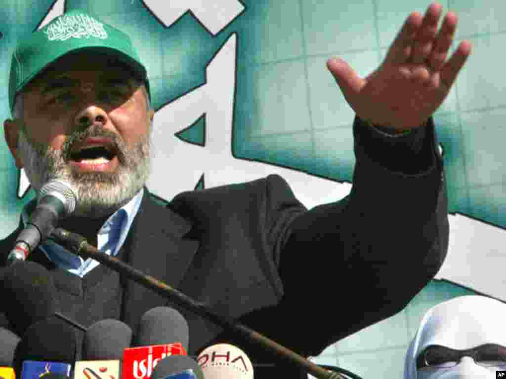 Hamas leader Ismail Hanieh speaks during a rally supporting candidates from the group for 2006 parliamentary elections. Hamas defeated Fatah in the polls. (AP)