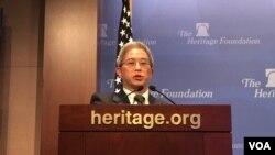 台湾外交部政务次长徐斯俭2019年6月12日在华盛顿智库传统基金会发表演说(美国之音锺辰芳拍摄)