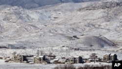 지난달 30일 통일정망대에서 눈덮인 북한.
